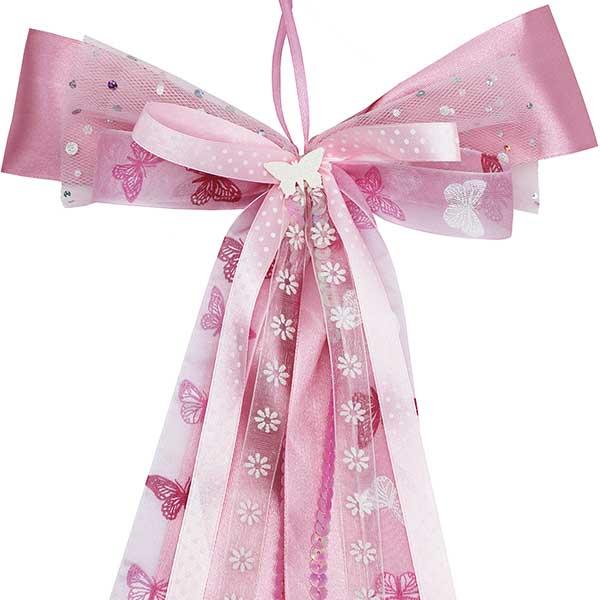 Schultüten Schleife Butterfly Pailetten rosa 50 cm