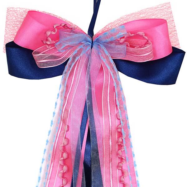 Schultüten Schleife Heartbeat blau pink 50 cm