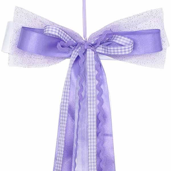 Schultüten Schleife Karo Zackenlitze flieder violett 50 cm
