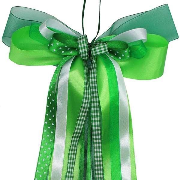 Schultüten Schleife Karo Punkte grün weiss 50 cm