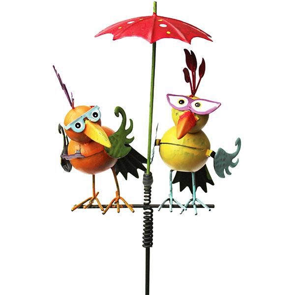 Gartenstecker Paradiesvögel unter Regenschirm