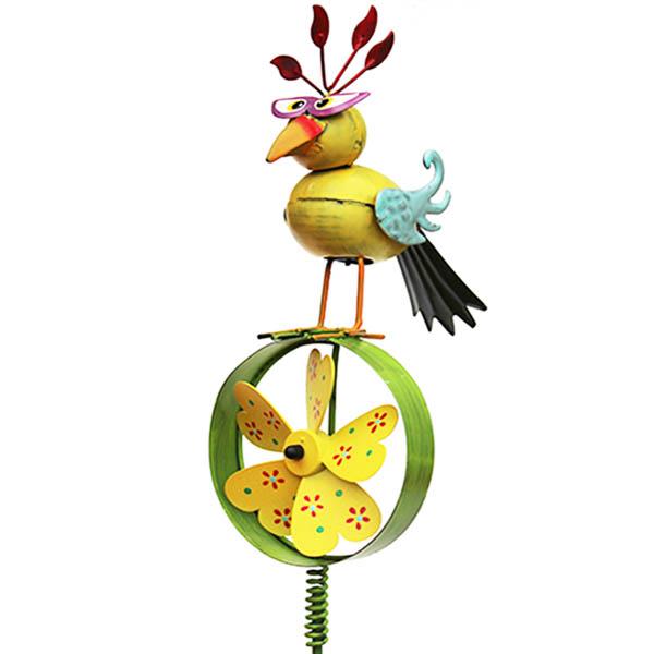 Gartenstecker Paradiesvogel mit Windrad gelb