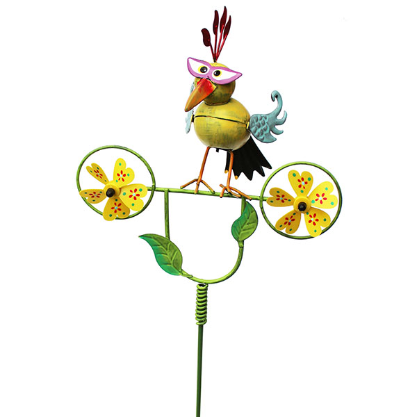 Gartenstecker Paradiesvogel mit Windrädern