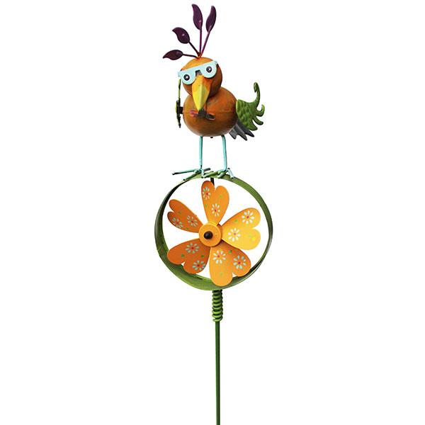 Gartenstecker Paradiesvogel mit Windrad orange