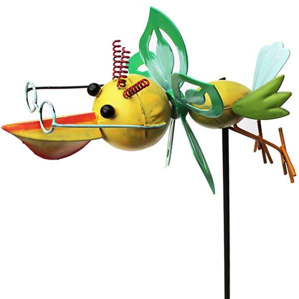Gartenstecker Pelikan mit Windrad gelb
