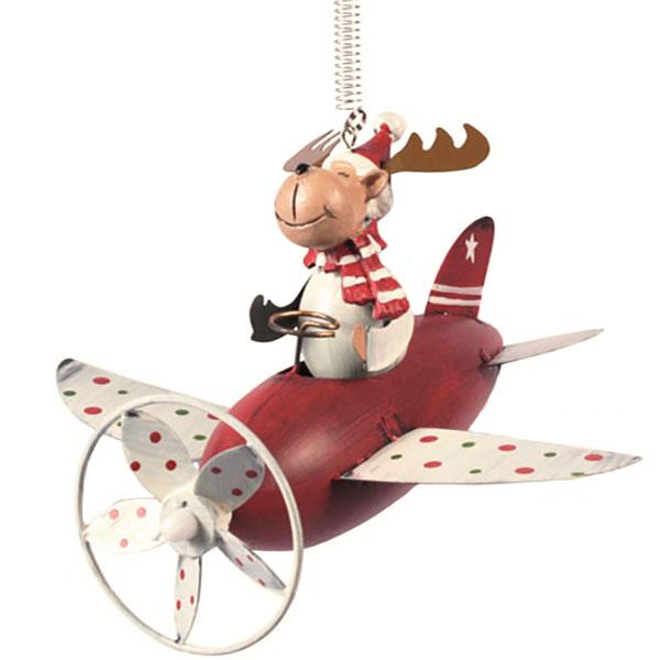 Elch mit Flugzeug Schwingfigur
