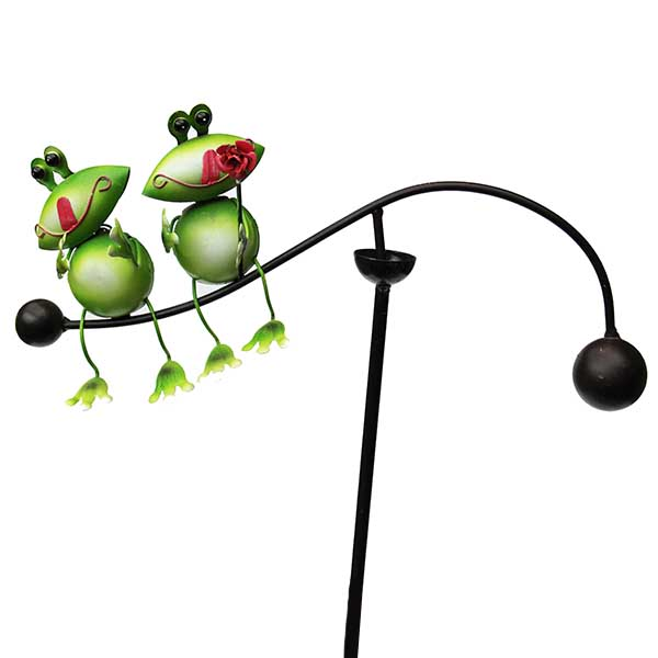 Gartenstecker Windspiel Frosch links