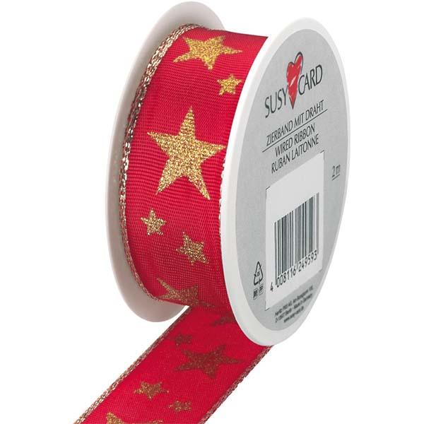 Susy Card Geschenkband Arktis rot gold m / € 1,25