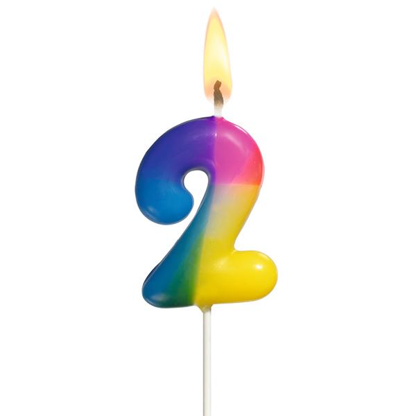 Susy Card Kerze Zahl 2 Höhe 50 mm