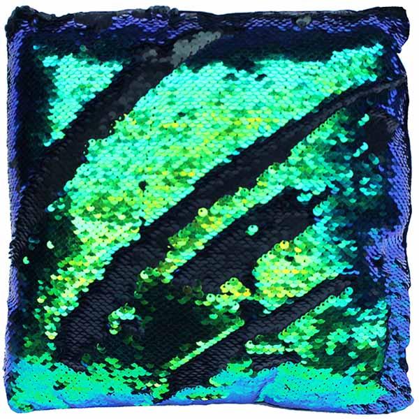 Kissen Pailletten blaugrün schwarz Farbwechsel