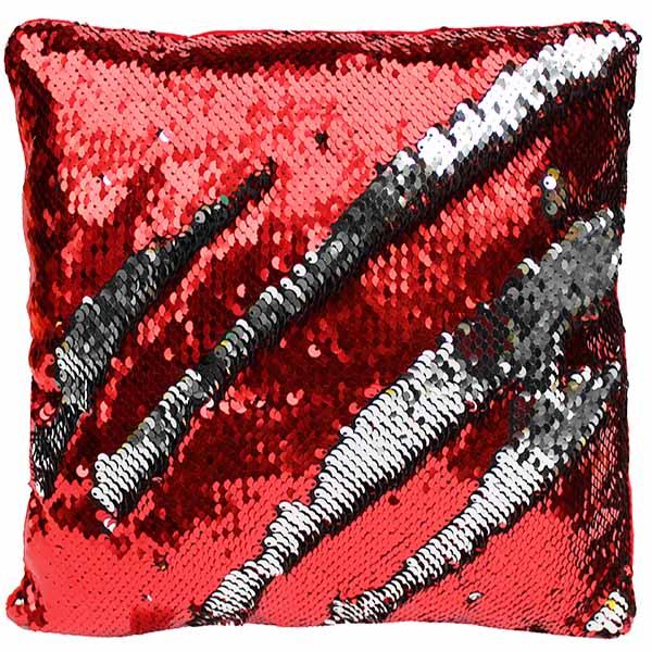 Kissen Pailletten rot silber Farbwechsel